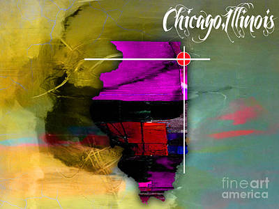 Mixed Media - Chicago Illinois Map Watercolor by Marvin Blaine
