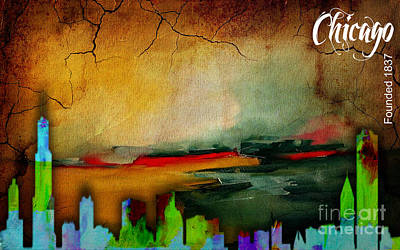 Skylines Mixed Media - Chicago Skyline Watercolor by Marvin Blaine