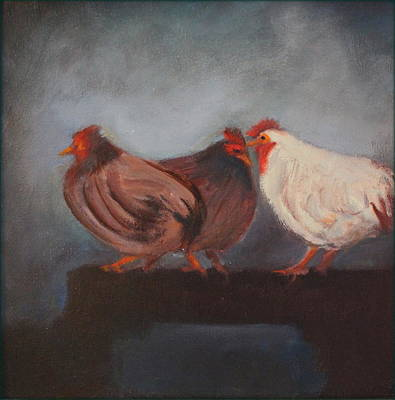 Painting - 3 Chickens by Rosemarie Hakim