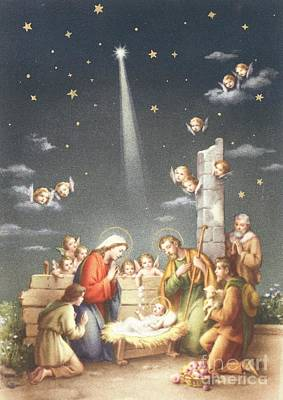 Nativity Painting - Christmas Card by French School