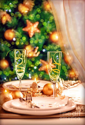 Photograph - Christmas Table Setting by Anna Om