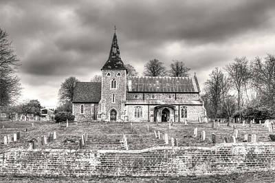 Church And Graveyard At Dusk Art Print