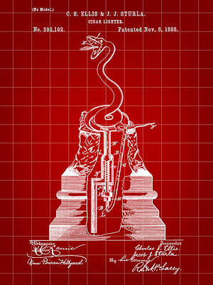 Puerto Rico Digital Art - Cigar Lighter Patent 1888 - Red by Stephen Younts