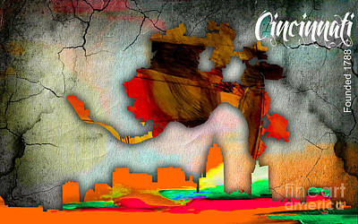 Colorful Mixed Media - Cincinnati Map And Skyline Watercolor by Marvin Blaine