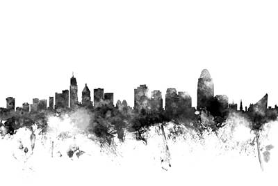 Ohio Digital Art - Cincinnati Ohio Skyline by Michael Tompsett