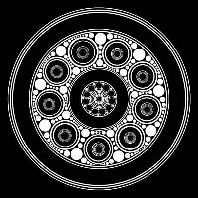 Tribal Art Painting - Circle Motif 137 by John F Metcalf