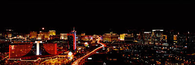 City Lit Up At Night, Las Vegas Art Print