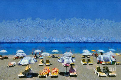 Umbrellas Painting - Beach At The City Of Rhodes by George Atsametakis