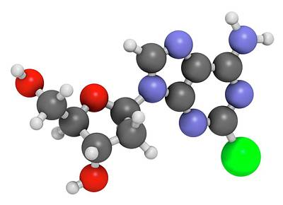 Cladribine Cancer Drug Molecule Art Print by Molekuul