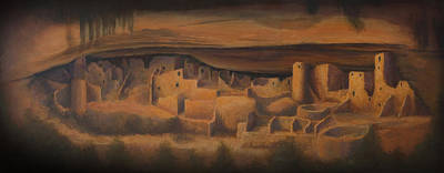 Landmarks Painting Royalty Free Images - Cliff Palace Royalty-Free Image by Jerry McElroy