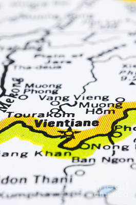 close up of vientiane on map-Laos Art Print by Tuimages