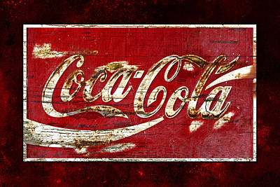 Rusty Coke Sign Photograph - Coca Cola Sign Cracked Paint by John Stephens