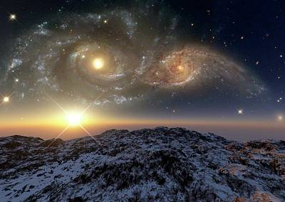 Planetary System Photograph - Colliding Galaxies by Detlev Van Ravenswaay