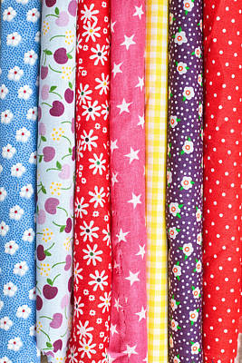 Gingham Photograph - Colorful Fabrics by Tom Gowanlock