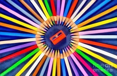 Motif Painting - Colorful Pencils by George Atsametakis