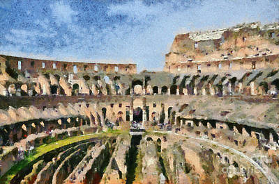 Historic Painting - Colosseum In Rome by George Atsametakis