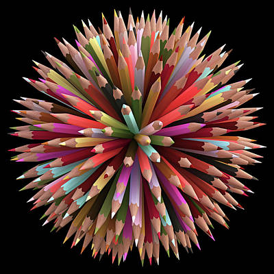 One Point Perspective Photograph - Colouring Pencils by Ktsdesign