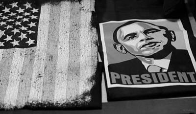 Commercialization Of The President Of The United States Of America In Black And White Art Print by Rob Hans