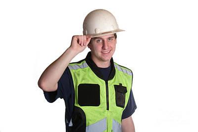 Photograph - Construction Worker In Safety Jacket by Gunter Nezhoda