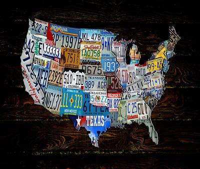 Continental Usa License Tag Map Art Print