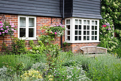 Window Bench Photograph - Cottage Garden by Tom Gowanlock