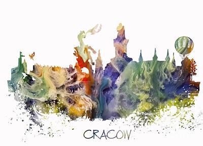 Krakow Digital Art - Cracow City Skyline by Justyna JBJart