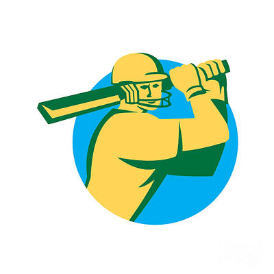 Cricket Player Batsman Batting Circle Retro Art Print