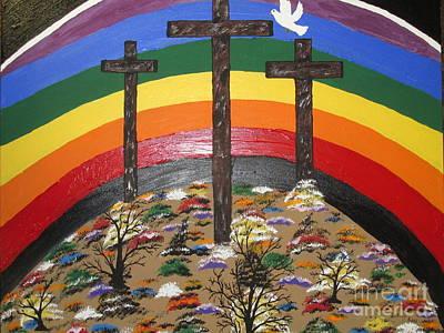 3 Crosses And A Rainbow Art Print by Jeffrey Koss