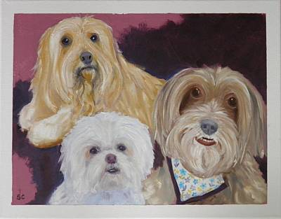Painting - 3 Cute Dogs by Sharon Casavant