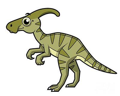 Parasaurolophus Digital Art - Cute Illustration Of A Parasaurolophus by Stocktrek Images
