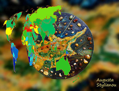 Abstract Map Digital Art - World Map And Cyprus by Augusta Stylianou