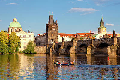 Prague Towers Photograph - Czech Republic Prague - Charles Bridge by Panoramic Images