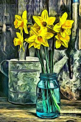 Water Jars Photograph - Daffodils by Edward Fielding