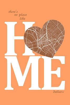 Heart Digital Art - Dallas Street Map Home Heart - Dallas Texas Road Map In A Heart by Jurq Studio