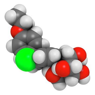 Chemical Photograph - Dapagliflozin Diabetes Drug Molecule by Molekuul