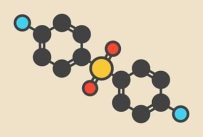Dapsone Antibacterial Drug Molecule Art Print