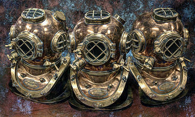 Diving Helmet Photograph - 3 Deep-diving Helmets by Daniel Hagerman