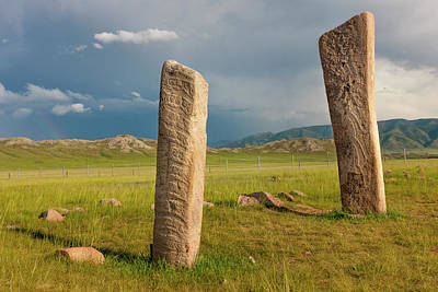 Megalith Photograph - Deer Stones With Inscriptions, 1000 Bc by Tom Norring