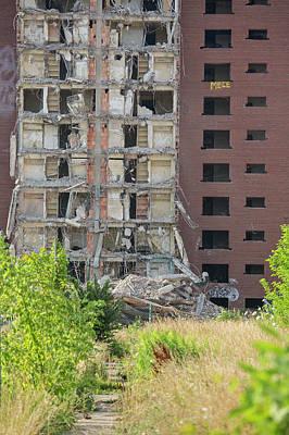 Demolition Of Detroit Housing Towers Art Print
