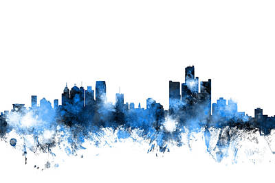 Michigan Digital Art - Detroit Michigan Skyline by Michael Tompsett