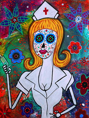 Artist Painting - Dia De Los Muertos Nurse by Pristine Cartera Turkus