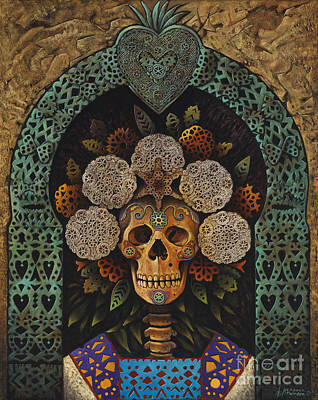 Folk Art Mixed Media - Dia De Muertos Madonna by Ricardo Chavez-Mendez