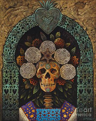 Calavera Painting - Dia De Muertos Madonna by Ricardo Chavez-Mendez