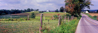 Dirt Road Passing Through A Field Art Print by Panoramic Images
