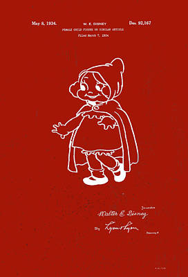 Digital Art - Disney Red Riding Hood by Marlene Watson