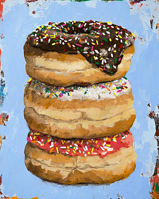 Pop Art Wall Art - Painting - 3 Donuts by David Palmer