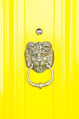 Yellow Wall Art - Photograph - Door Knocker by Tom Gowanlock