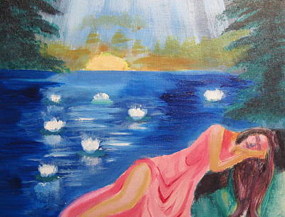 Lilly Pond Painting - Dreaming At Lotus Lake by Diana Riukas
