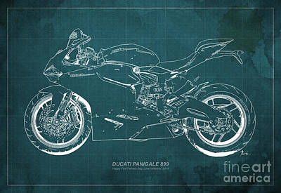 Funny Car Drawing - Ducati 899 Custom For Bianca by Pablo Franchi