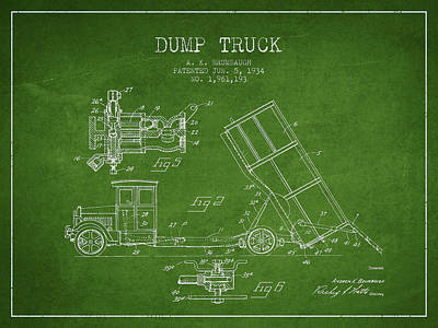 Machinery Drawing - Dump Truck Patent Drawing From 1934 by Aged Pixel